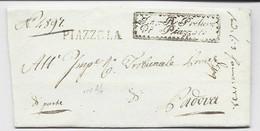 ITALIA MARQUE PIAZZOLA 1836 LETTERA + FRANCHISE TO PADOVA - 1. ...-1850 Prefilatelia