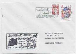 FRANCE LETTRE COVER PORTE HELICOPTERES JEANNE D'ARC 26.1.1981 FORBIN SHANGHAI CHINA - Seepost