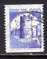 ITALIA REPUBBLICA ITALY REPUBLIC 1980 1992 1981 CASTELLI BOBINA MACCHINETTE FORTEZZA SVEVO LIRE 200 USATO USED OBLITERE' - 1981-90: Oblitérés