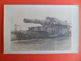 Carte Photo Militaire Guerre WW1 - Canon Sur Wagon De Train SNCF WW1 - War, Military