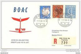 191 - 3 - Enveloppe 1er Vol  BOAC Zurich-Blantyre 1966 - Erst- U. Sonderflugbriefe