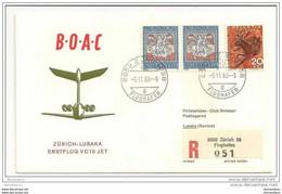 191 - 5 - Enveloppe 1er Vol  BOAC Zurich-Lusaka 1966 - Erst- U. Sonderflugbriefe