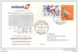 191 - 21 - Enveloppe 1er Vol Swissair Genève-Philadelphia Via Zurich/Boston 1990 - Erst- U. Sonderflugbriefe