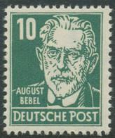 DDR 1952 10 Pfg. August Bebel, Postfrisches Kab.-Stück, Gew. Papier - Nuevos