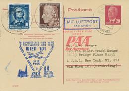 DDR 1955 Auslands-GA 20 Pf M. Zusatzfrank. - Mitläufer PAA DC 6B WIEN - NEW YORK - Cartas