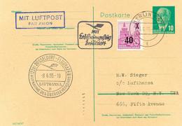 DDR 1955 Extrem Selt Zuleitung Aus Berlin-Ost Zum Erstflug DÜSSELDORF - NEW YORK - Cartas