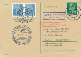 DDR 1955 Mitläuferpost Erstflug Aufnahme Des Europaverkehrs FRANKFURT - PARIS - Cartas