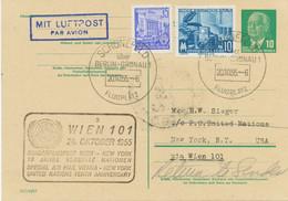 DDR 1955 PAA Wien-New York (10 Jahre UNO) Sonderflug Mitläuferpost Aus Der DDR - Cartas