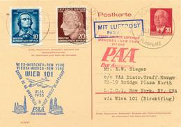 DDR 1955 Selt. DDR-Mitläuferpost PAA DC 6B Erstflug WIEN - MÜNCHEN - NEW YORK - Cartas