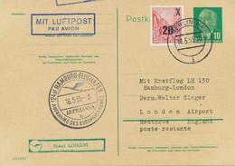 DDR 1955 Selt. Mitläuferpost Aus Der DDR Erstflug Mit Deutsche LH HAMBURG-LONDON - Cartas