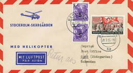 DDR 1955 Zuleitung-Mitläuferpost Dt.Lufthansa Hubschrauber-Erstflug STOCKHOLM - Cartas