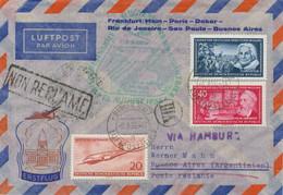 DDR 1956 DDR-Mitläuferpost Zum Erstflug Der Dt. Lufthnasa HAMBURG - BUENOS AIRES - Cartas