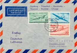 DDR 1956 Erstflug Deutsche Lufthansa M Superconstellation über Shannon N CHICAGO - Cartas