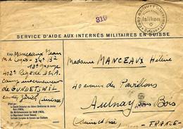 """Sans Date - Enveloppe  """" Camp Militaire D'internement * Suisse *  ISLIKON - P G Français Au Camp De Gundetswil- - Briefe U. Dokumente"""