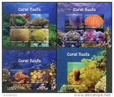 Antigua And Barbuda 2015. Mi.#5225/32+Bl.#733/34 MNH/Luxe. Fauna. Coral Reefs (Ts53) - Antigua Y Barbuda (1981-...)