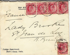 1907- Cover From  Amir's Camp, India To  St Jean De Luz (south Of  France ) - Unclassified
