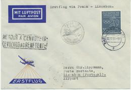 "DDR 1956,Erstflug CSA ""PRAG – ZÜRICH"" Mit Endbestimmung ""LISSABON"", RRR!!! - Cartas"