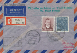 "DDR 1957 Erstflug Sabena ""BRÜSSEL – BUDAPEST"", Extrem Selt. MITLÄUFERPOST - Cartas"