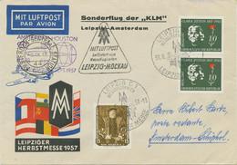 DDR 1957 LeipzigerMesse KLM-Sonder- LEIPZIG-AMSTERDAM+AMSTERDAM-HOUSTON Erstflug - Cartas