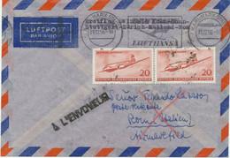 DDR 1957 Mitläuferpost Aus Der DDR Zum Erstflug Mit Swissair KÖLN/BONN - ZÜRICH - Cartas
