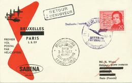DDR 1957 Zuleitung-Mitläuferpost SABENA HUBSCHRAUBER-ERSTFLUG BRÜSSEL-PARIS - Cartas
