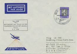 """DDR 1958 Erstflug Deutsche Lufthansa Mit Flug LH 330 """"HAMBURG – FRANKFURT - ROM"""" - Cartas"""