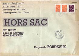 TYPE MARIANNE DE LAMOUCHE N°3739x2+3759 SUR LETTRE HORS SAC DE DAX/6.4.05 - 2004-08 Marianne De Lamouche