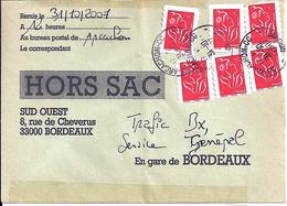 TYPE MARIANNE DE LAMOUCHE N°3744Ax6 SUR LETTRE HORS SAC DE ARCACHON/31.10.07 - 2004-08 Marianne De Lamouche