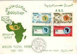EGYPT 1971 U.P.A.F. AFRICAN POSTAL UNION FDC - UPU (Universal Postal Union)