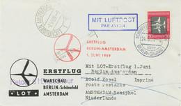 """DDR 1959 Erstflug LOT """"BERLIN-SCHÖNEFELD – AMSTERDAM"""" Nur 600 Briefe Geflogen - Cartas"""