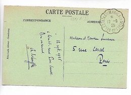 Ferroviaire Convoyeur SELESTAT à Ste MARIE Aux MINES Sur 20c Semeuse 1925      ...G - Posta Ferroviaria