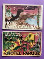 Espagne 2 Feuillets Publicitaires  LAS PALMAS Hôtels  Belles Illustrations  Bon état (traces D'usage) - Gran Canaria