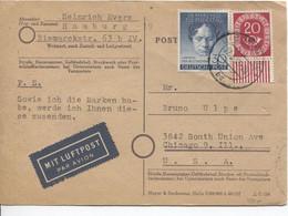 941PR/TP 71 Berlin + TP 16 DBP On PC Air Mail C.Hamburg 27/5/52 > Chicago USA - Lettres & Documents
