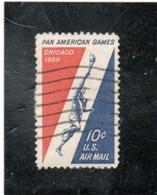 ETATS - UNIS   Poste Aérienne  1959  Y.T. N° 54  Oblitéré - 3a. 1961-… Usados