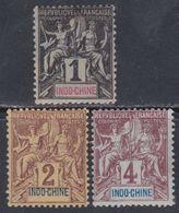 Indochine N° 3 / 5  X  Type Groupe : 1 C. , 2 C. , 4 C. Les 3 Valeurs  Trace De Charnière  Sinon TB - Unused Stamps