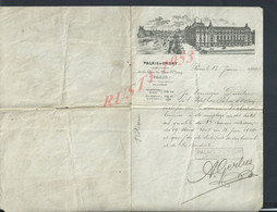 LETTRE DE 1910 ILLUSTRÉE CERTIFICAT EMPLOI , DE Mr WEBER PALAIS D ORSAY AVEC CACHET & AUTOGRAPHE DU DIRECTEUR PARIS : - Autographs