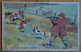 Un Coup De Vache - Chasseur - Chien - Lièvre - Vaches - Humour - Chasse - Taches Angle Bas Gauche - (n°19813) - Humour