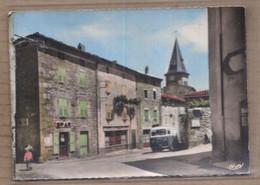 CPSM 07 - GILHOC - La Place Et L'Eglise - TB PLAN CENTRE VILLAGE ANIMATION Camionnette PLAQUE MICHELIN SPAR - Sonstige Gemeinden