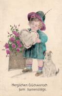 DC4845 - Ak Schöne Motivkarte Junges Mädchen Kind Hund Namenstag Glück - Retratos