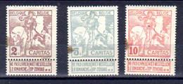 Belgique 1910, Expo Caritas De Bruxelles, 85* – 86* – 87*(comme Bouche Case), Cote 25 €, - 1910-1911 Caritas
