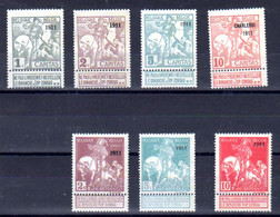 Belgique 1911, Exposition Internationale De Bruxelles, 92…99 Sans Gomme, Cote 385 €, - 1910-1911 Caritas