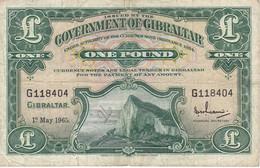 BILLETE DE GIBRALTAR DE 1 POUND DEL AÑO 1965  (BANKNOTE-BANK NOTE) RARO - Gibraltar