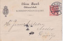 Denmark-1906 10 Ore Postal Stationery Letter Card Skive Bank, Skive Covert To Borup - Briefe U. Dokumente