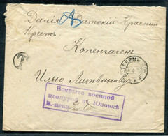 5004 GERMAN Colony In Russia Ostheim (now Telmanovo Donetsk Obl. Ukraine) Cancel 1916 Cover CENSOR Yuzovka To Denmark - Storia Postale