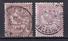 1902 - MOUCHON - YVERT 126+128 OBLITERES - COTE = 38.5 EUR. - - 1900-02 Mouchon