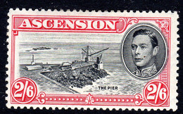 ASCENSION - 1938-1953 KGVI DEFINITIVE 1944 2/6 PERF 13 BLACK & DEEP CARMINE MOUNTED MINT MM * SG 45c REF A - Ascension
