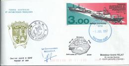 YT 215 Marion Dufresne I Et II - Posté à Bord - Escale à Hobart - 05/07/1997 - Lettres & Documents
