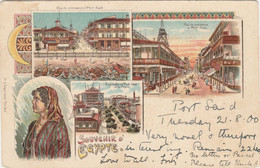 Egypt  Postcard Port Said Various Views Souvenir 1900 - Port Said