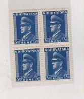 CROATIA WW II  , Pavelic 3.50 Kn  Bloc Of 4 MNH Name Day - Croacia