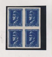 CROATIA WW II  , Pavelic 3.50 Kn Nice Proof Bloc Of 4 MNH Nice Error - Croacia